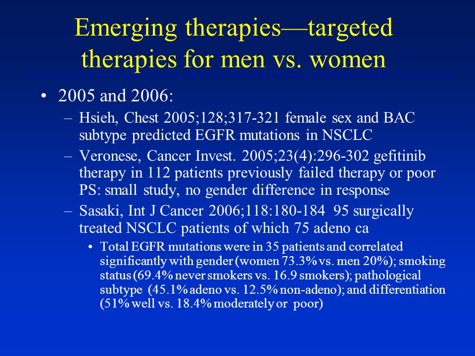 Emerging therapies—targeted therapies for men vs. women