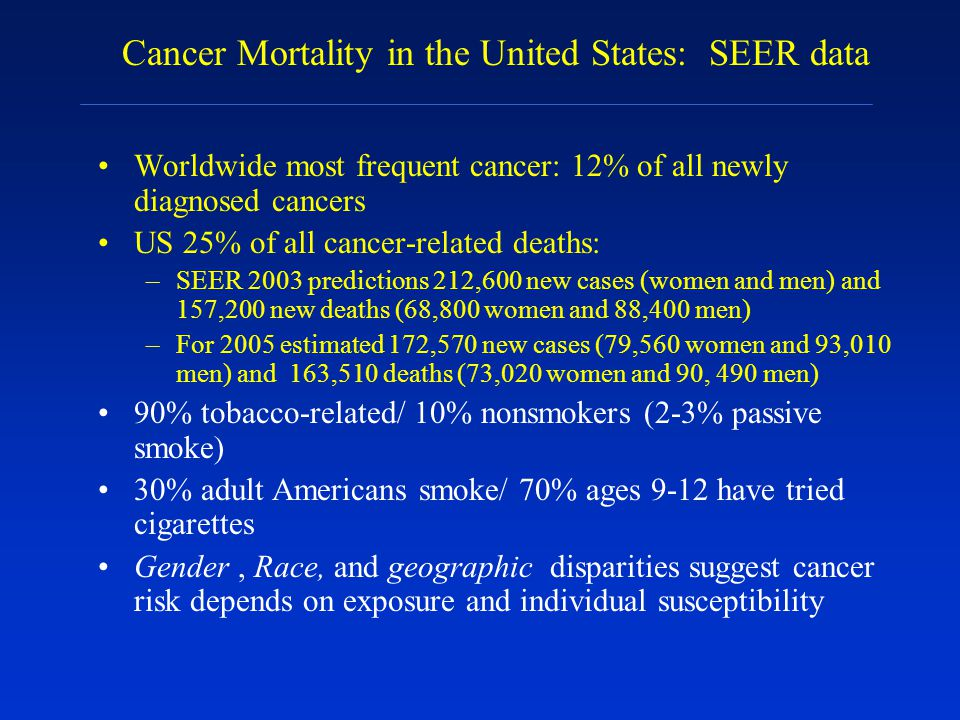 Cancer Mortality in the United States: SEER data