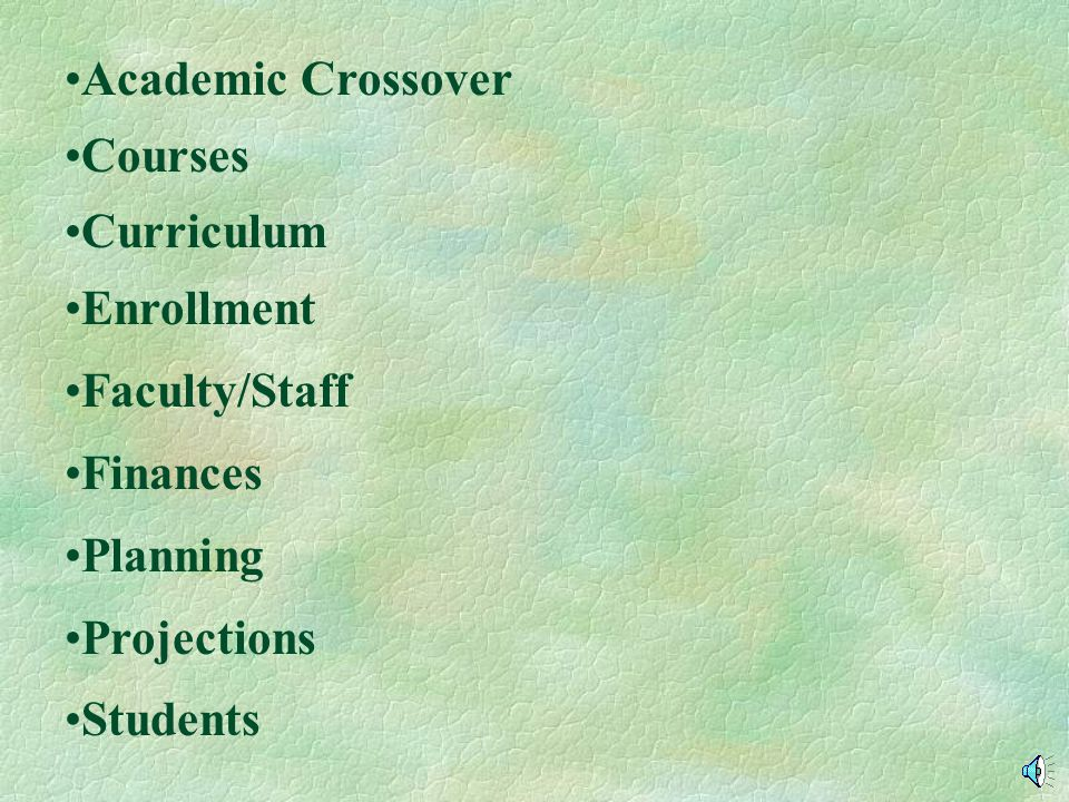 Academic Crossover Courses Curriculum Enrollment Faculty/Staff