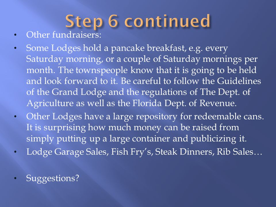 Step 6 continued Other fundraisers: