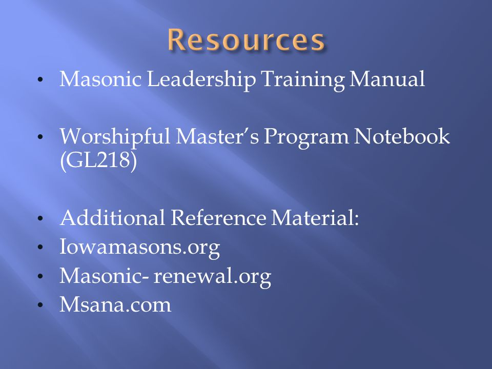 Resources Masonic Leadership Training Manual