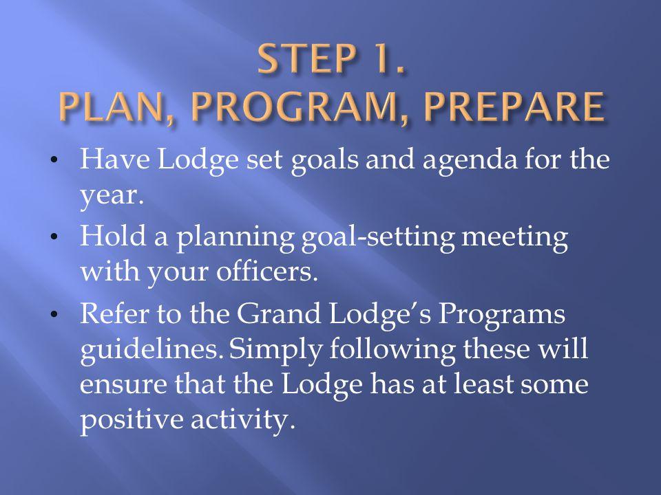 Step 1. PLAN, PROGRAM, PREPARE