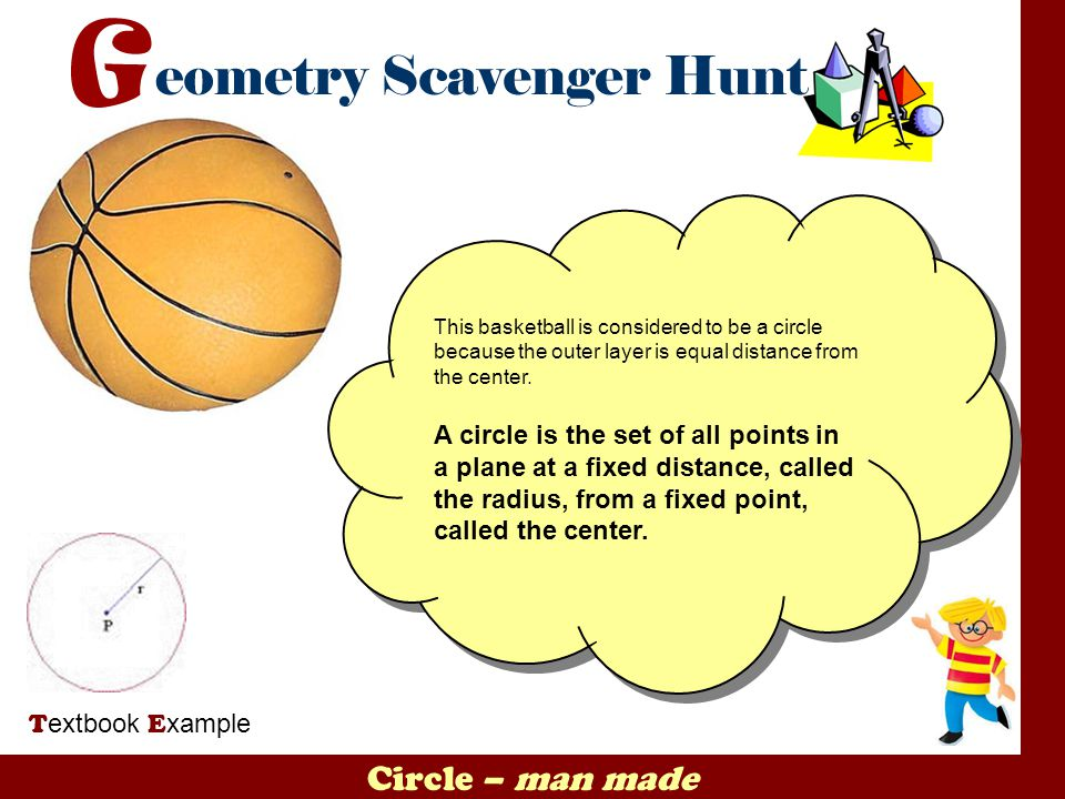 This basketball is considered to be a circle because the outer layer is equal distance from the center.