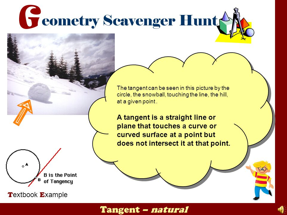 The tangent can be seen in this picture by the circle, the snowball, touching the line, the hill, at a given point .