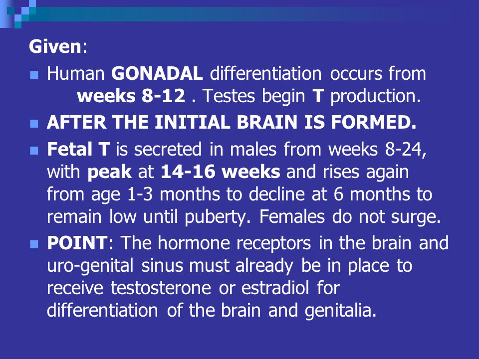 Given: Human GONADAL differentiation occurs from weeks 8-12 . Testes begin T production. AFTER THE INITIAL BRAIN IS FORMED.