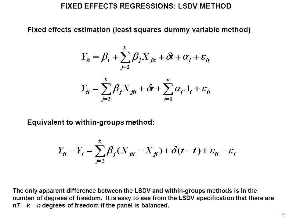 FIXED EFFECTS REGRESSIONS: LSDV METHOD