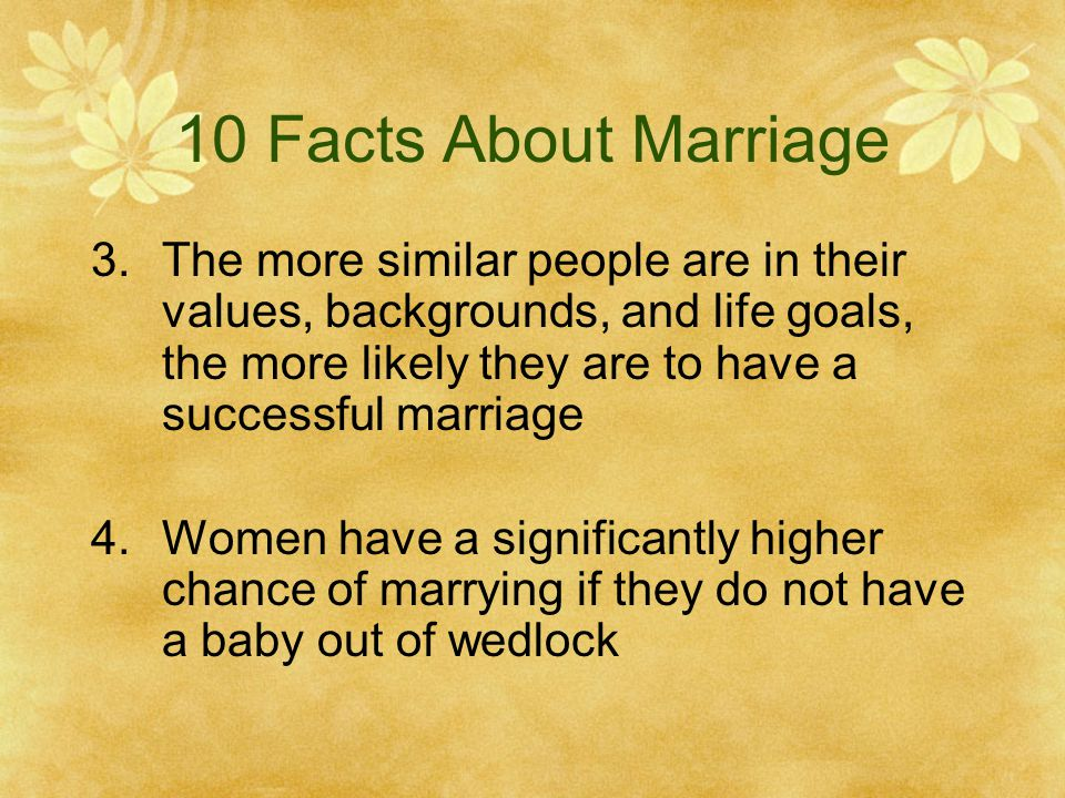 10 Facts About Marriage