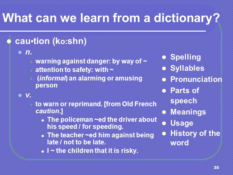 What can we learn from a dictionary