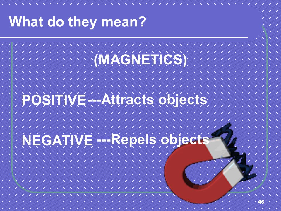 What do they mean (MAGNETICS) POSITIVE NEGATIVE ---Attracts objects ---Repels objects