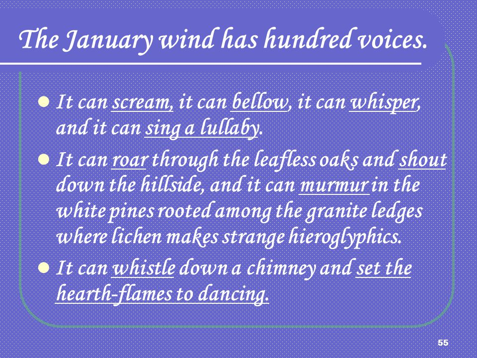 The January wind has hundred voices.