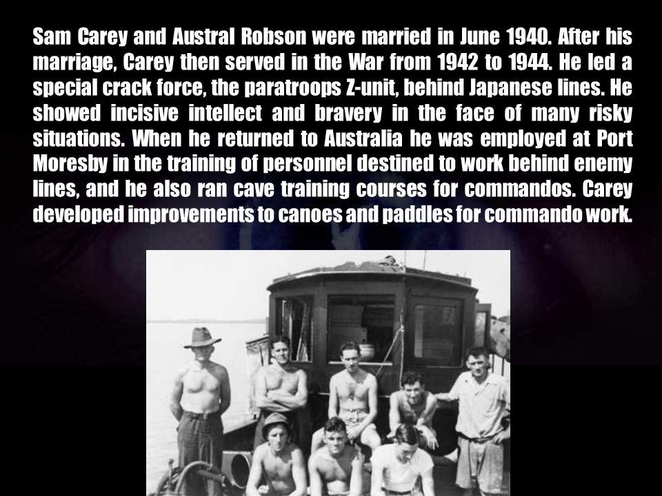 Sam Carey and Austral Robson were married in June 1940