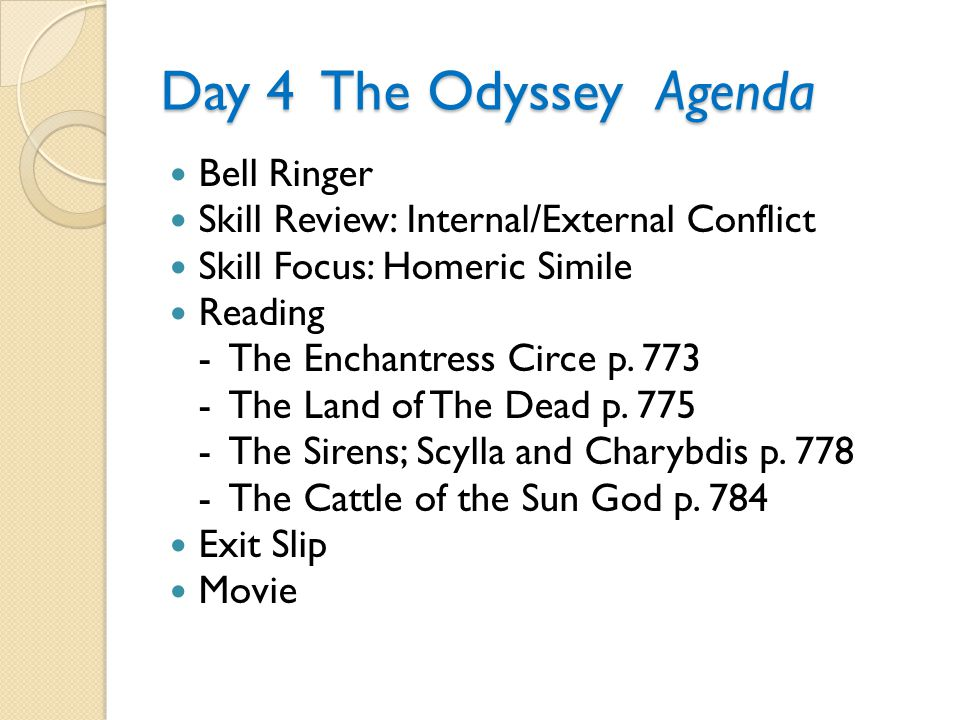 Day 4 The Odyssey Agenda Bell Ringer