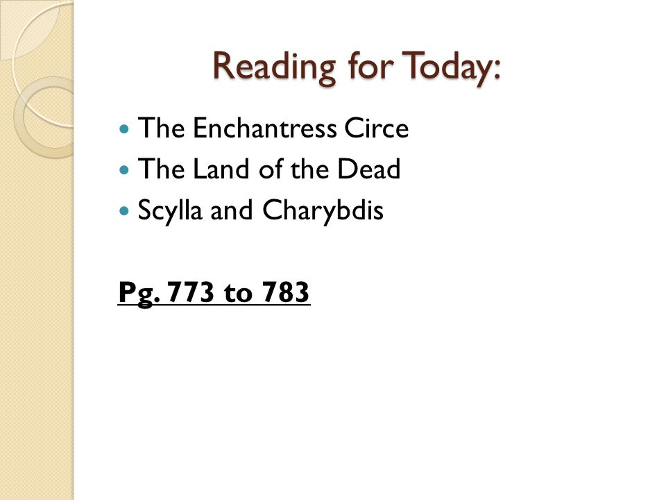 Reading for Today: The Enchantress Circe The Land of the Dead