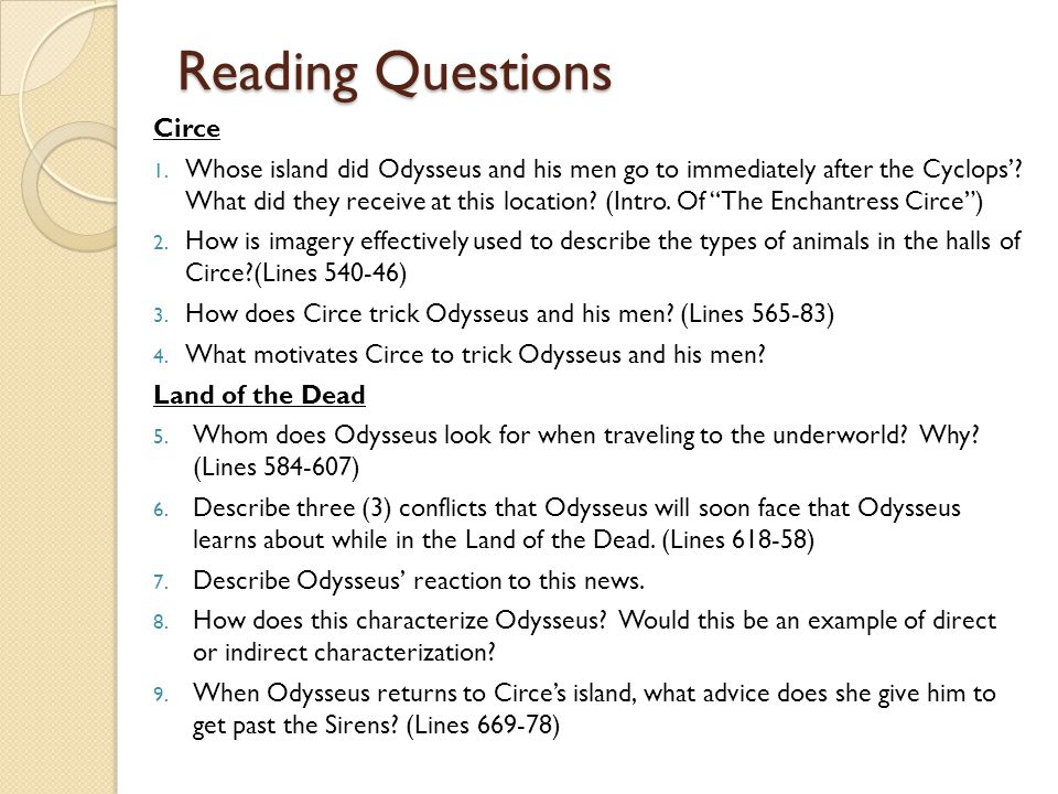 Reading Questions Circe