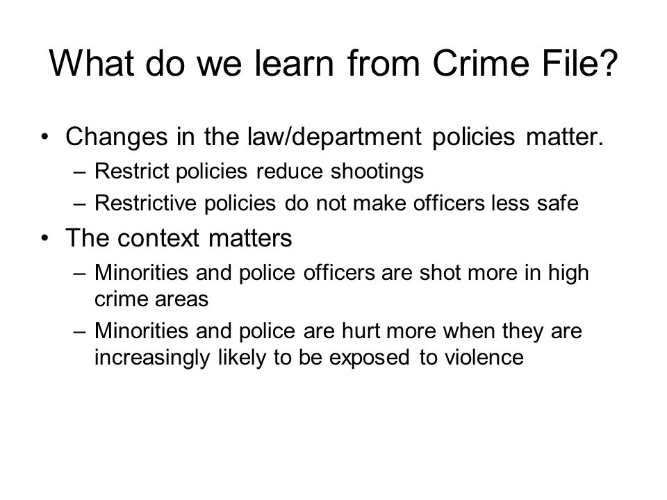 What do we learn from Crime File