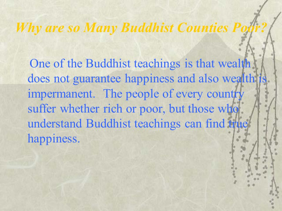 Why are so Many Buddhist Counties Poor