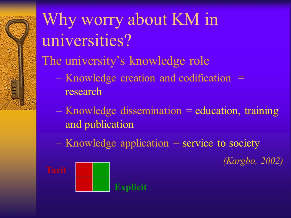 Why worry about KM in universities