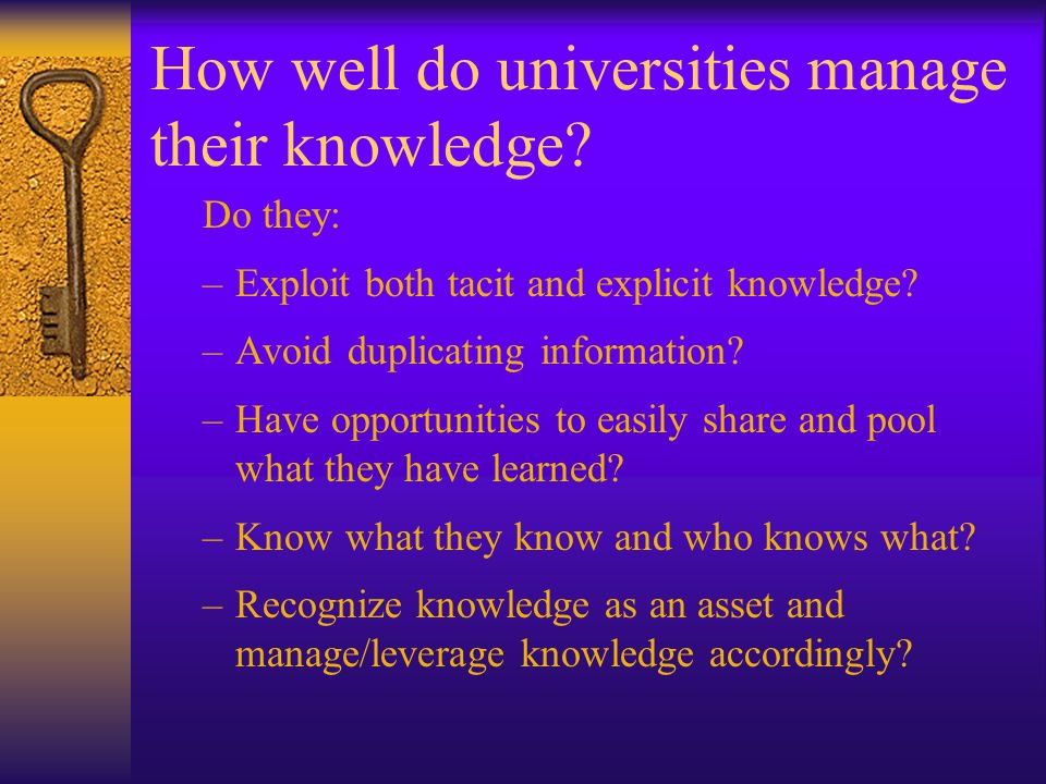 How well do universities manage their knowledge