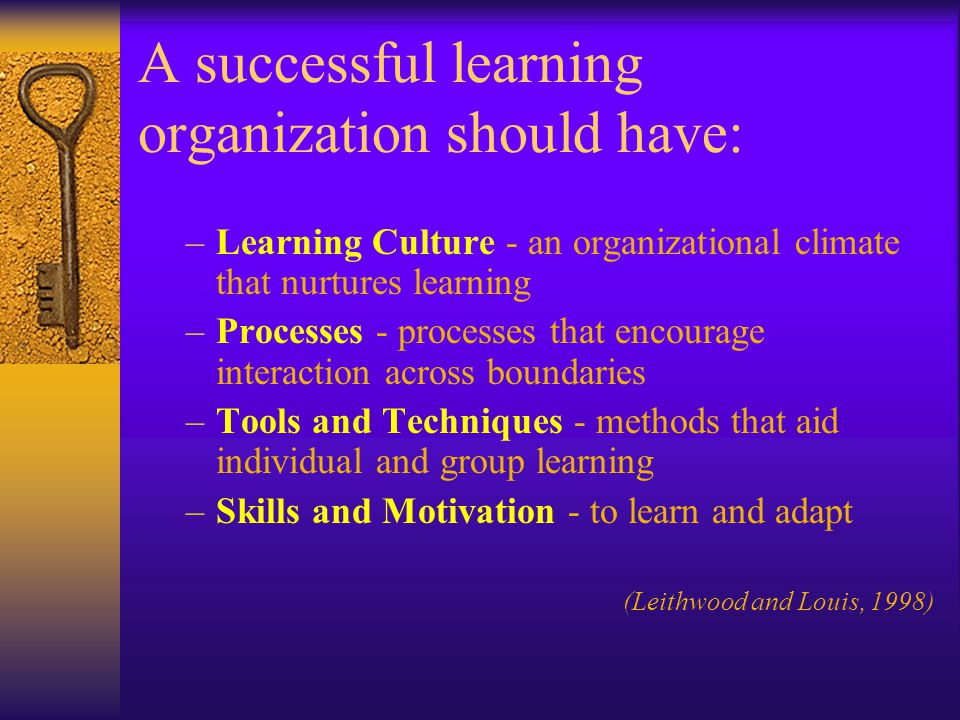 A successful learning organization should have: