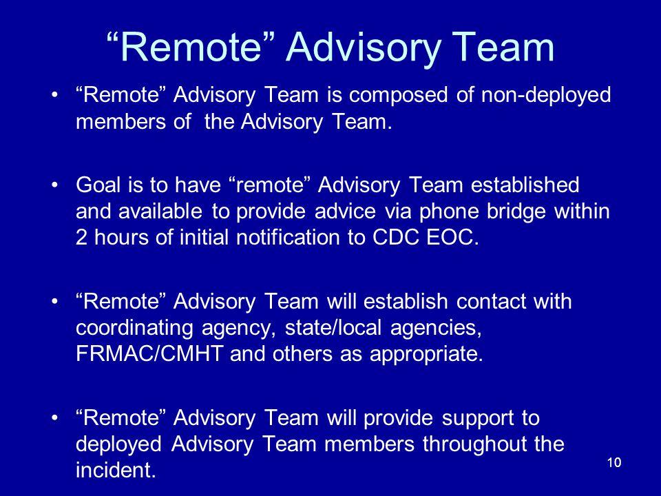 Remote Advisory Team