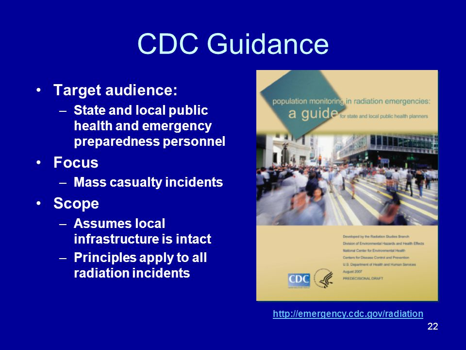 CDC Guidance Target audience: Focus Scope