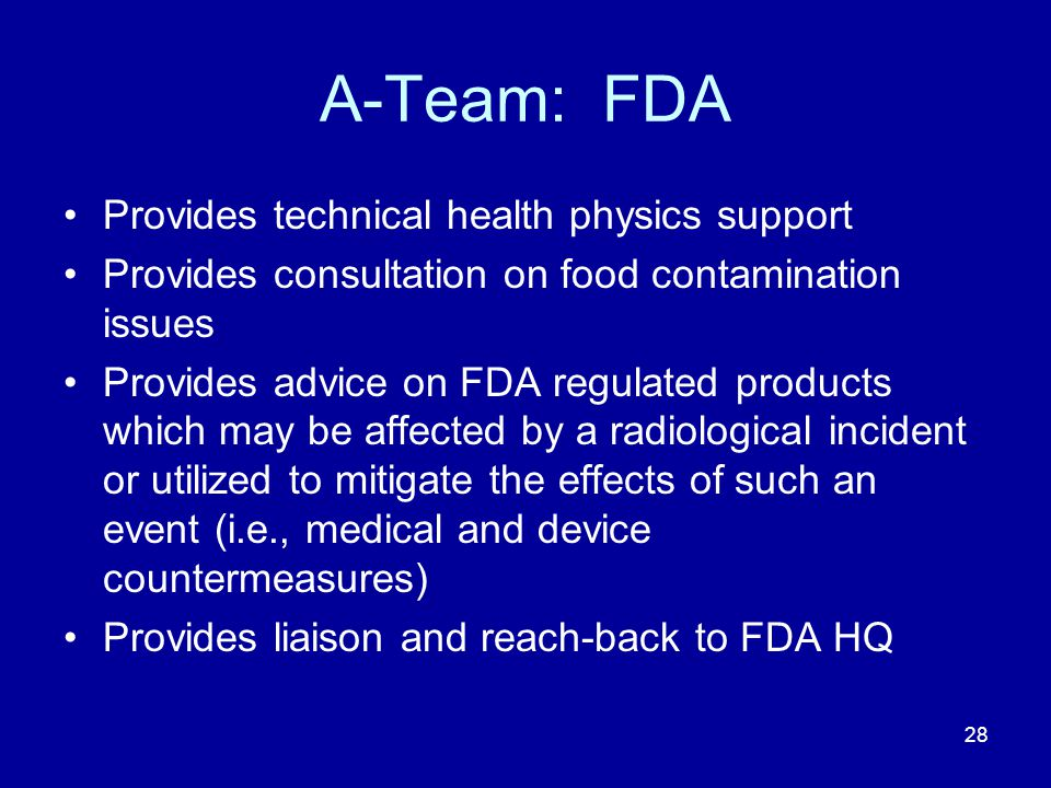 A-Team: FDA Provides technical health physics support