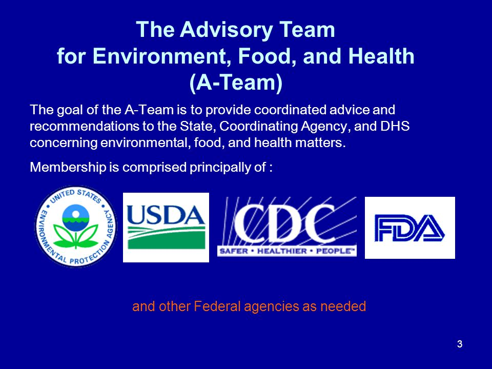 The Advisory Team for Environment, Food, and Health (A-Team)