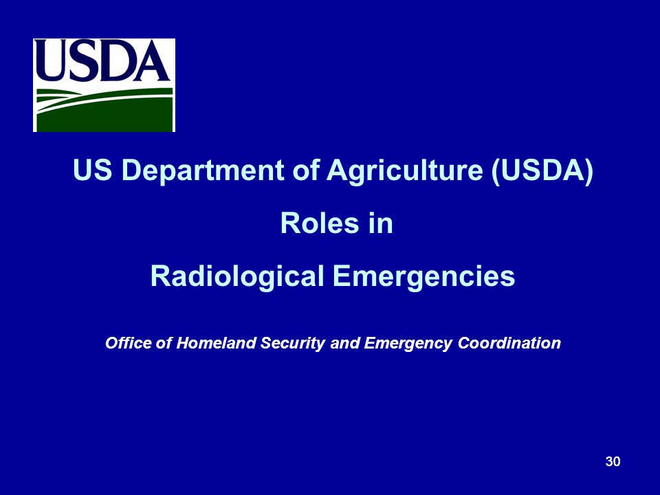 US Department of Agriculture (USDA) Roles in
