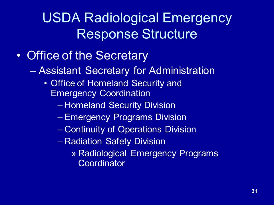 USDA Radiological Emergency Response Structure
