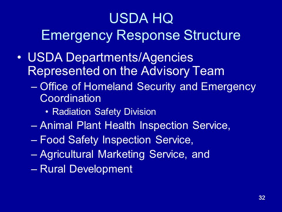 USDA HQ Emergency Response Structure