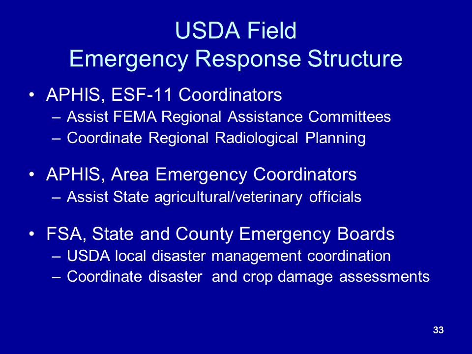 USDA Field Emergency Response Structure