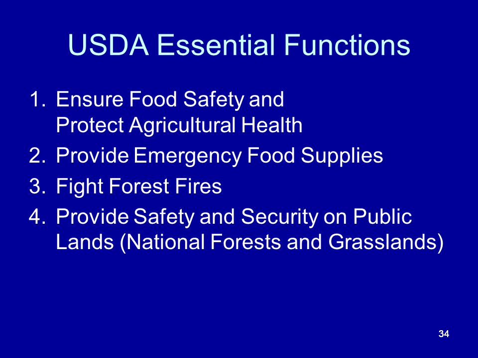 USDA Essential Functions