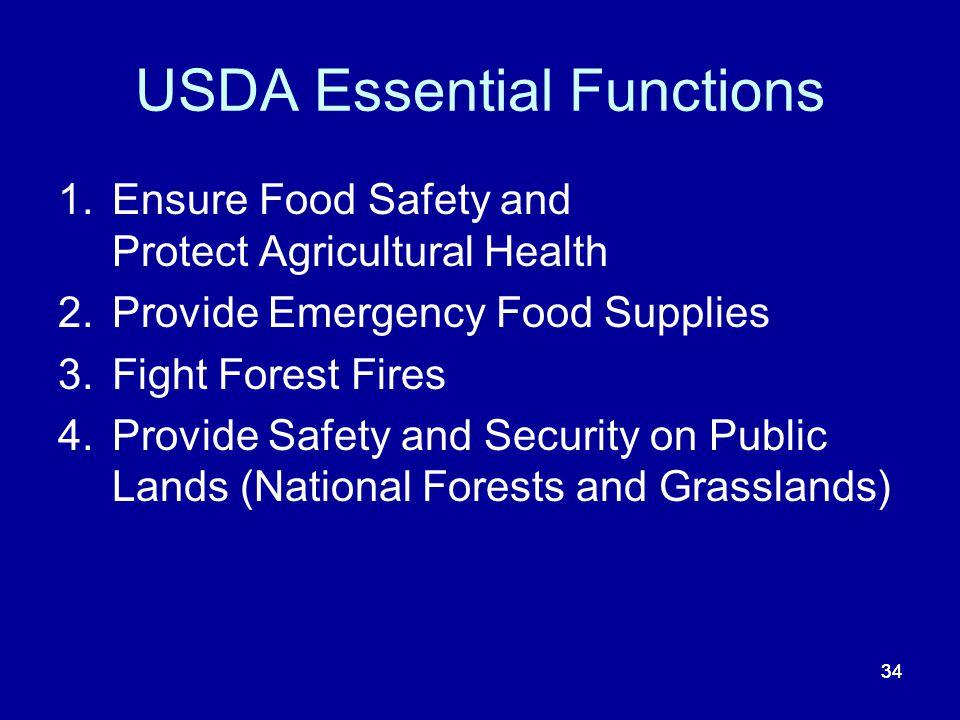 USDA Essential Functions