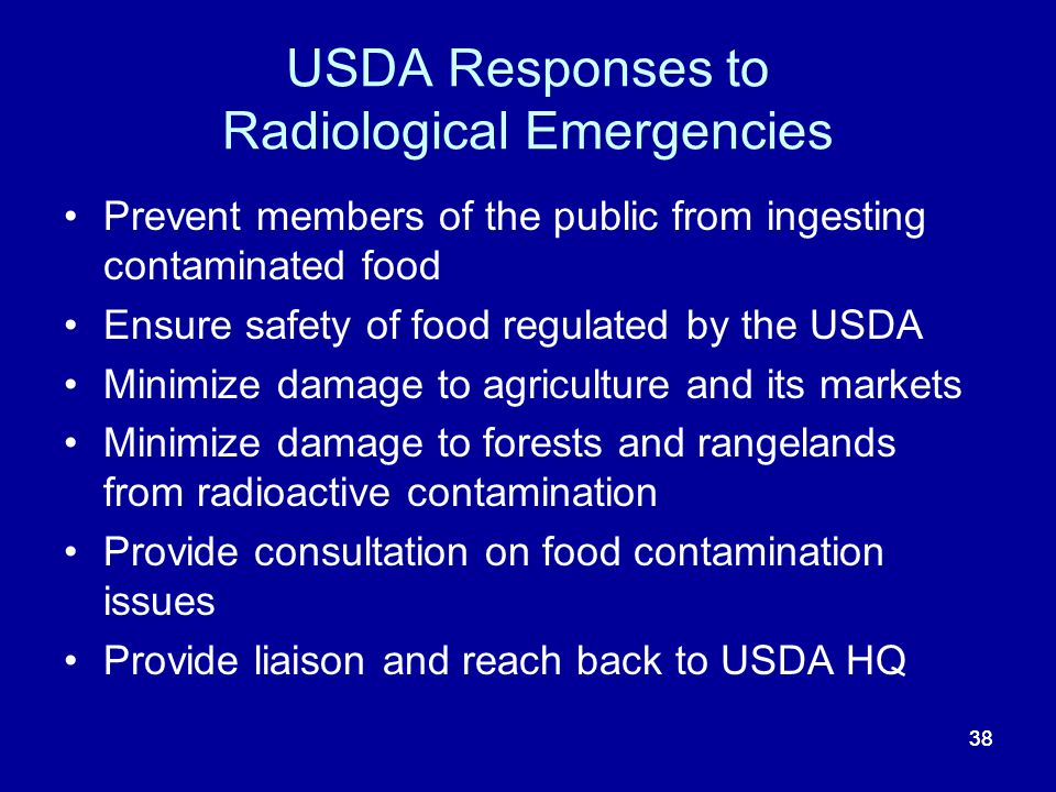 USDA Responses to Radiological Emergencies