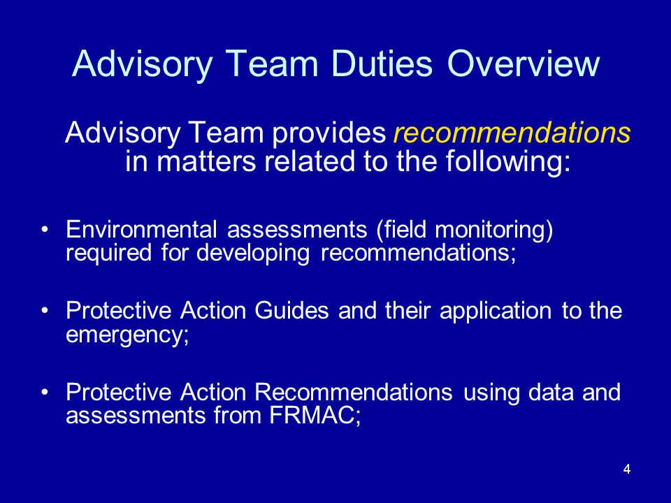 Advisory Team Duties Overview