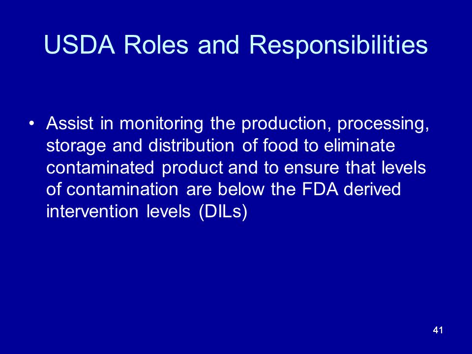 USDA Roles and Responsibilities