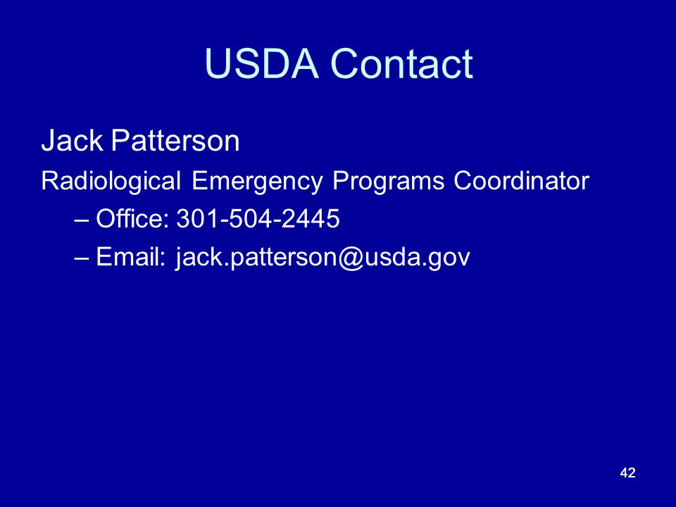 USDA Contact Jack Patterson