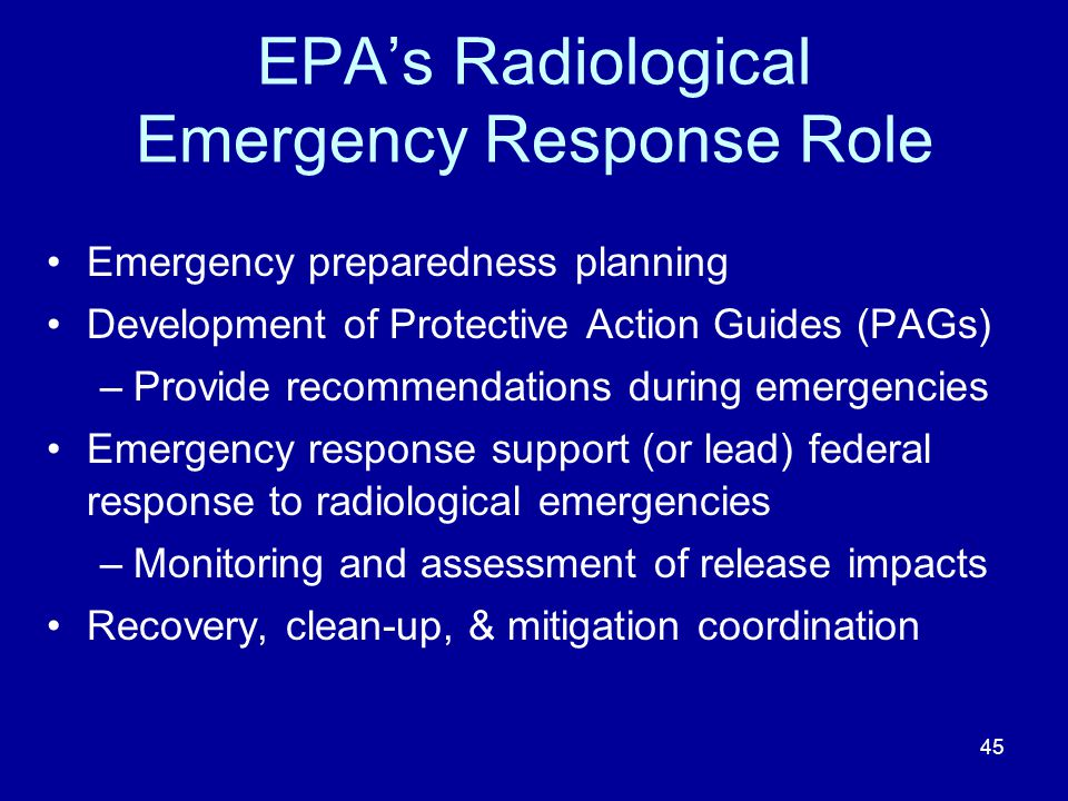 EPA's Radiological Emergency Response Role