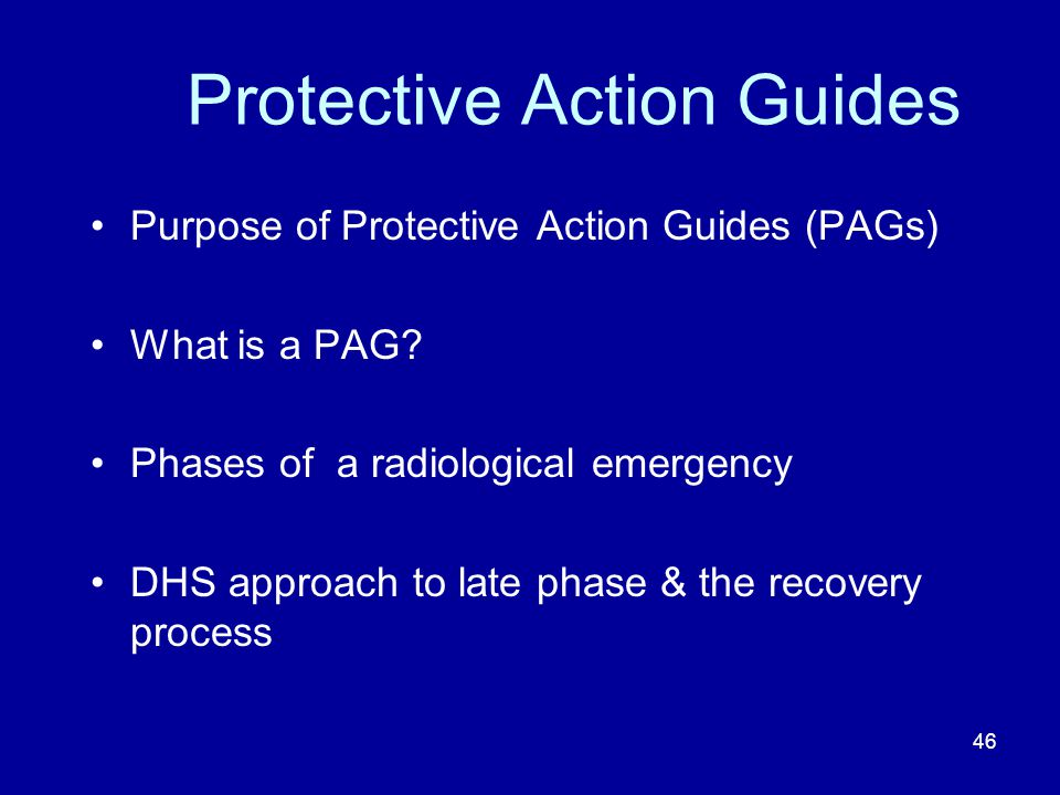 Protective Action Guides