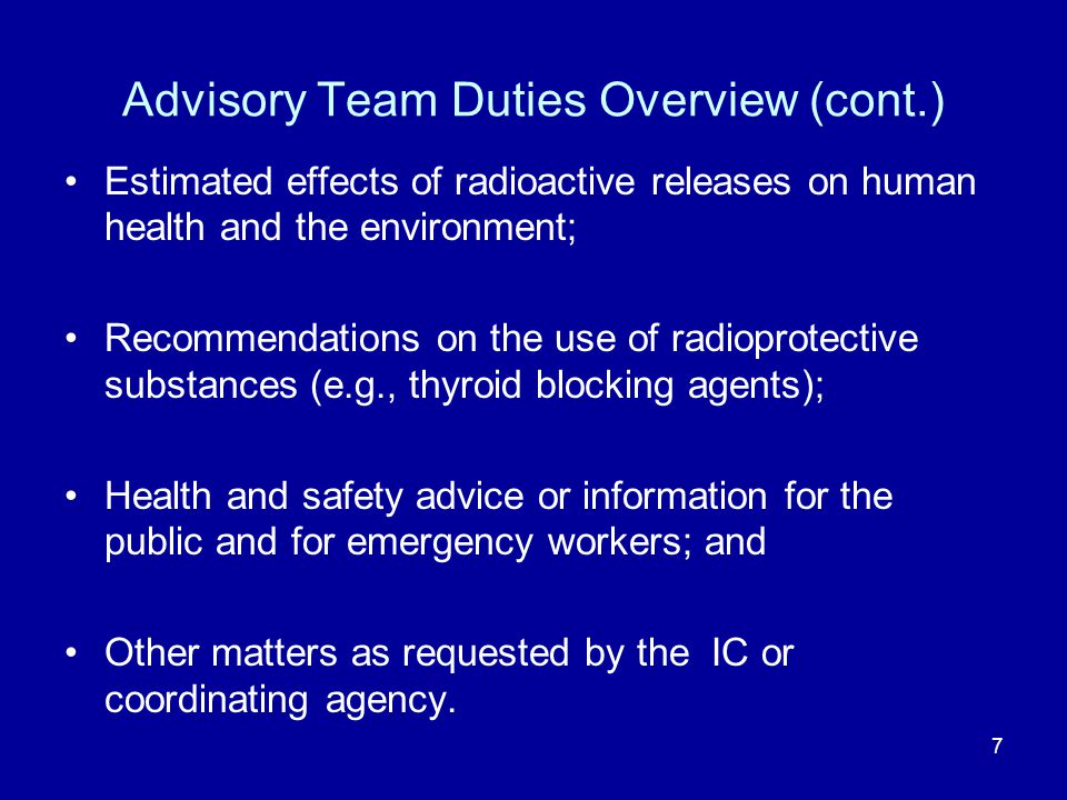 Advisory Team Duties Overview (cont.)