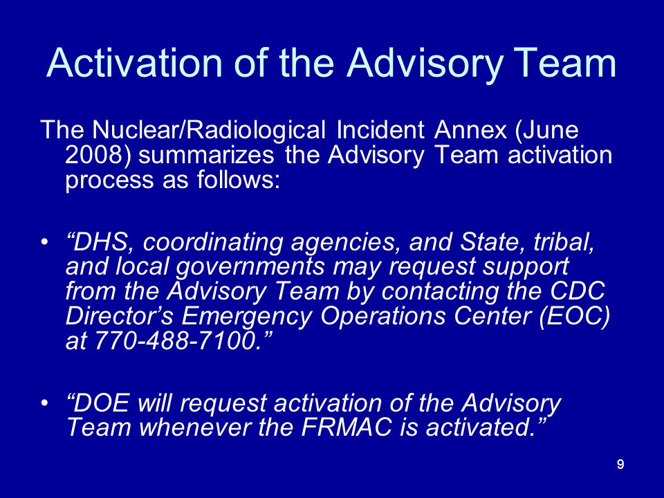Activation of the Advisory Team