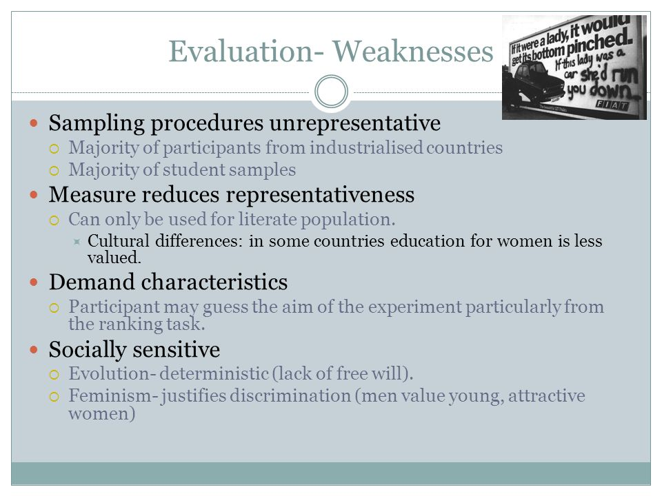 Evaluation- Weaknesses