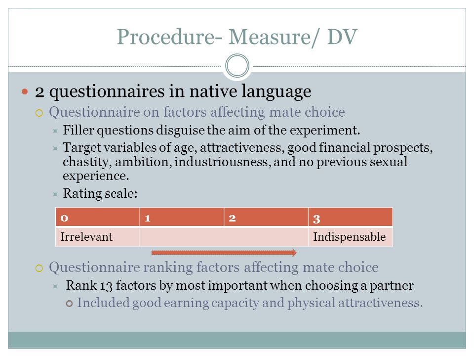 Procedure- Measure/ DV