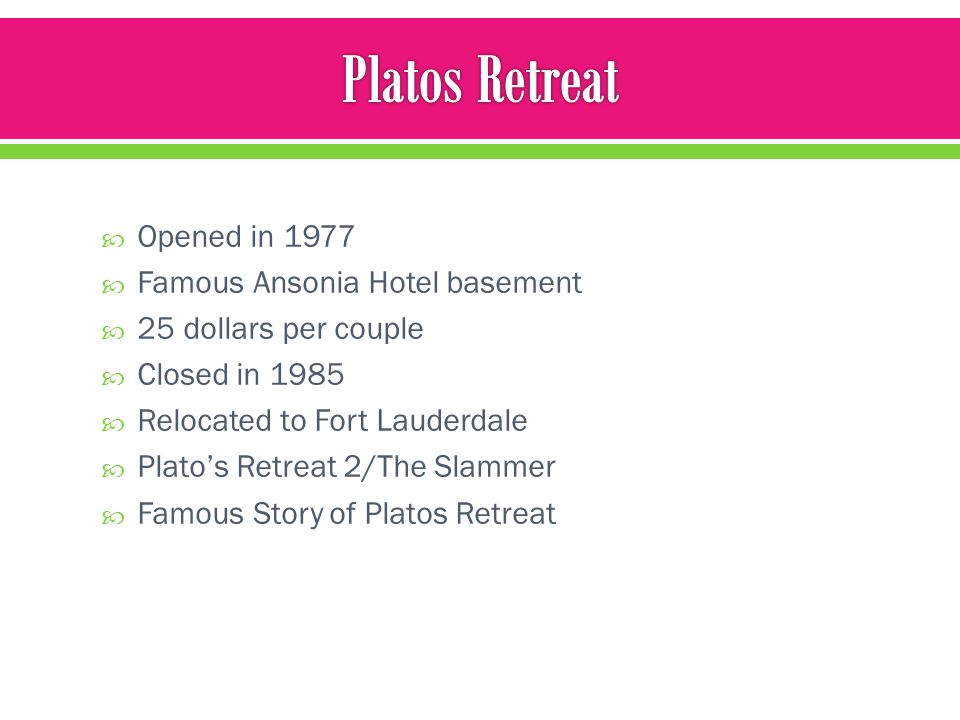 Platos Retreat Opened in 1977 Famous Ansonia Hotel basement