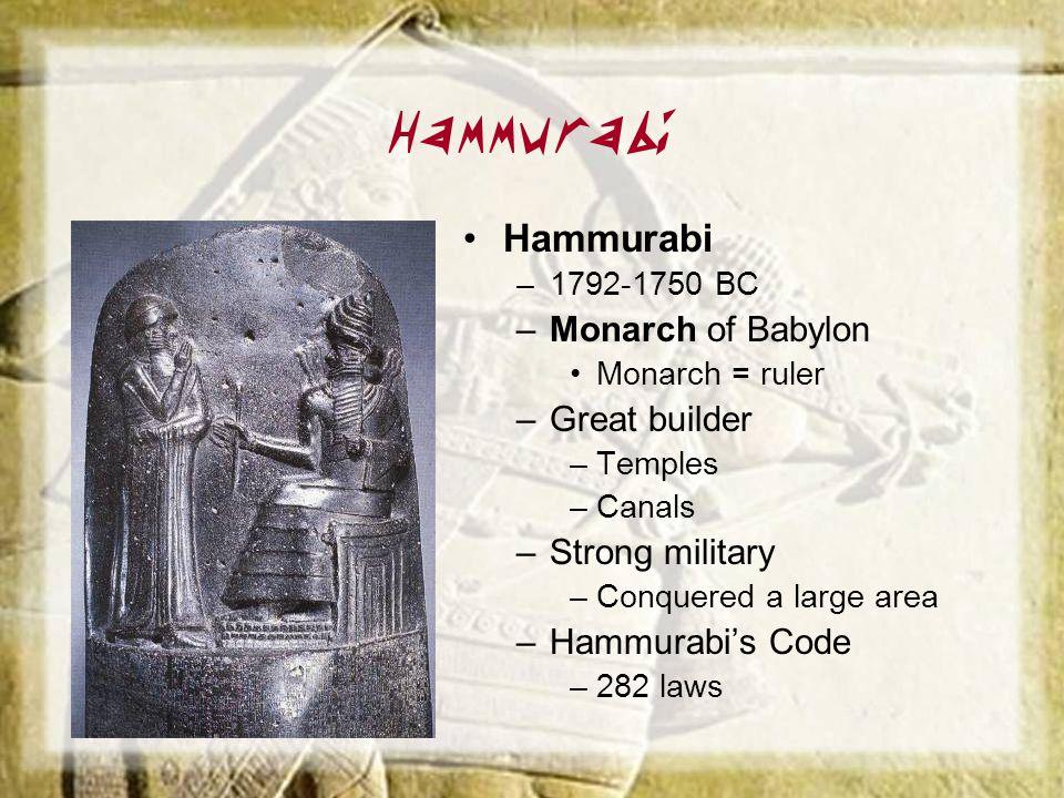 Hammurabi Hammurabi Monarch of Babylon Great builder Strong military
