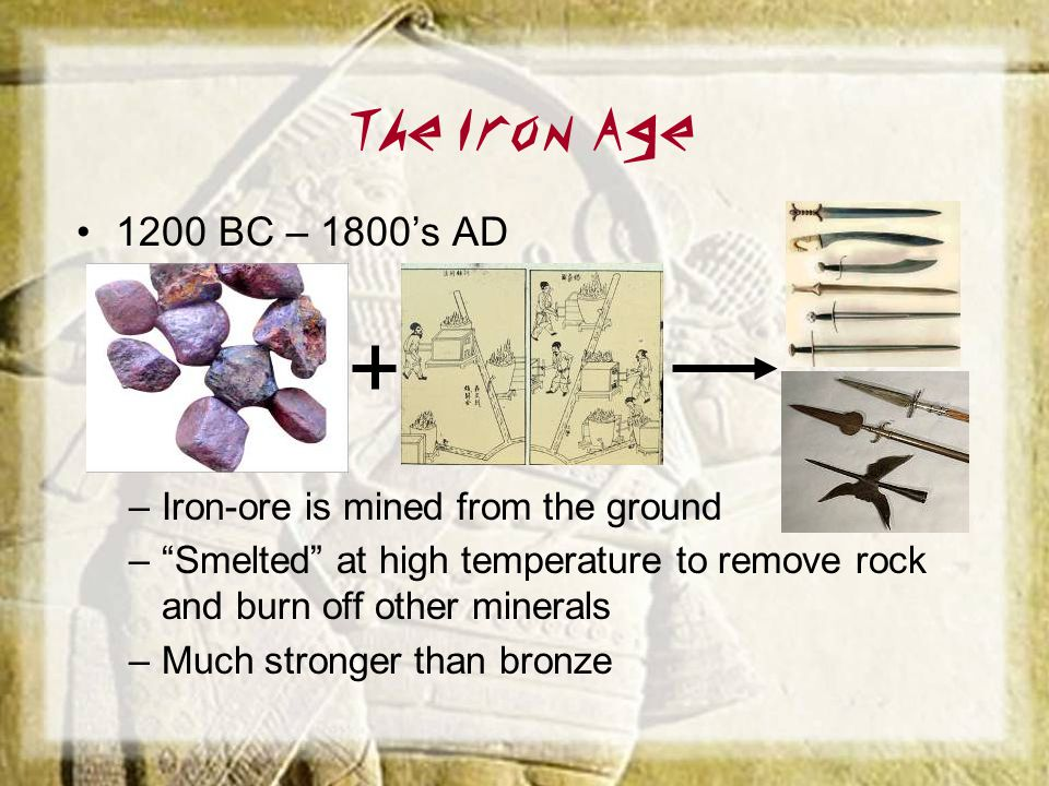 The Iron Age 1200 BC – 1800's AD Iron-ore is mined from the ground