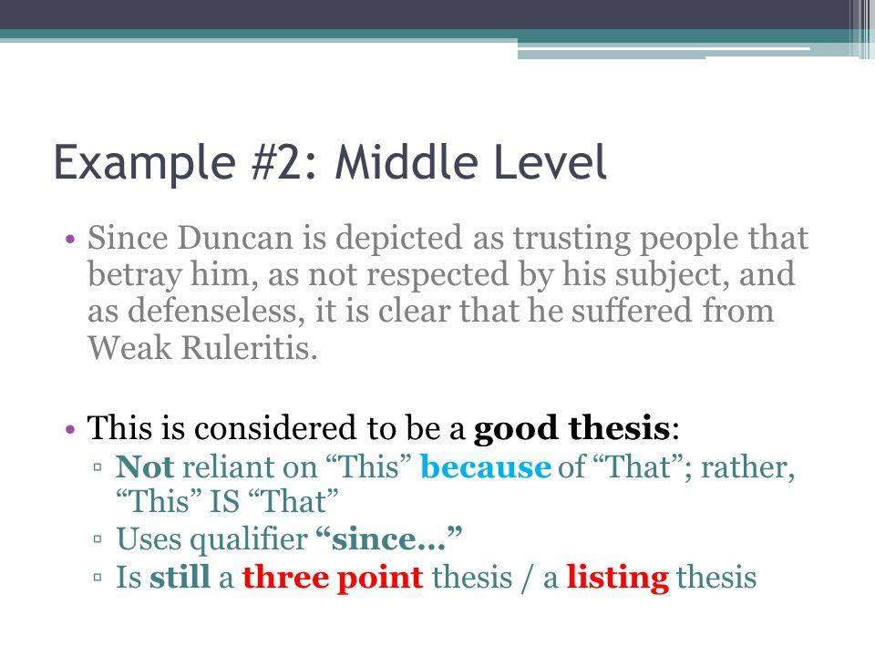Example #2: Middle Level