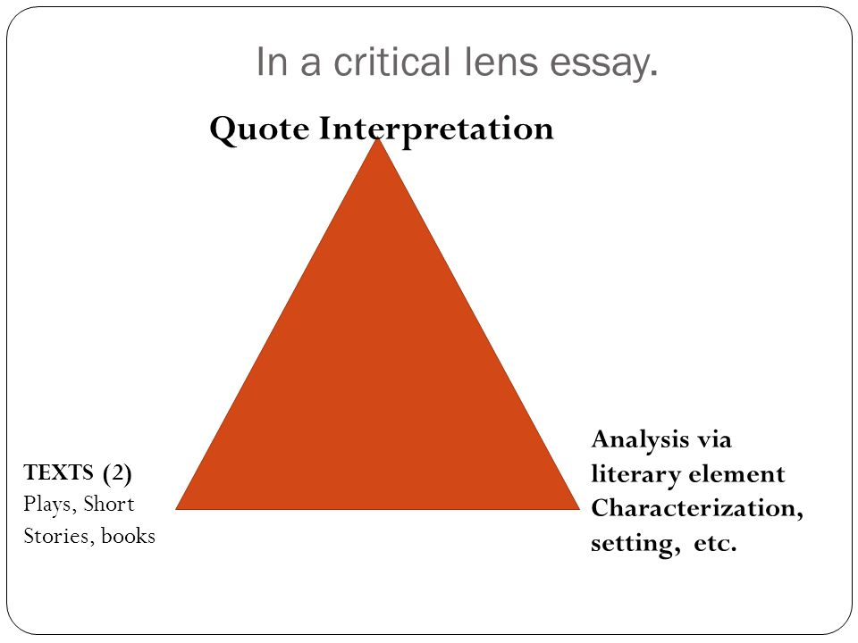 In a critical lens essay.