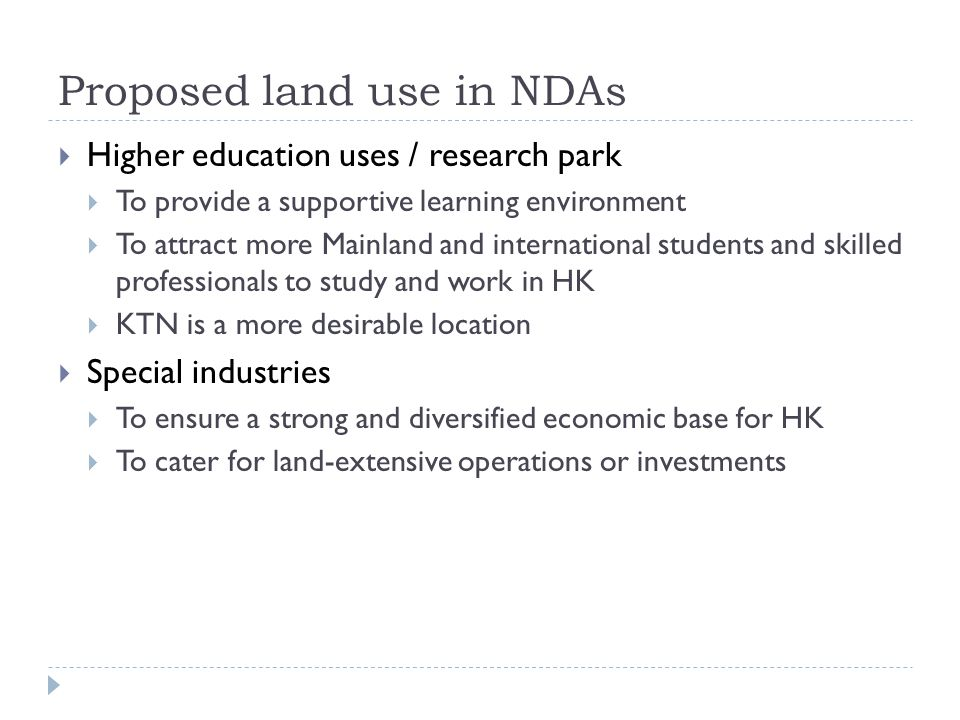 Proposed land use in NDAs