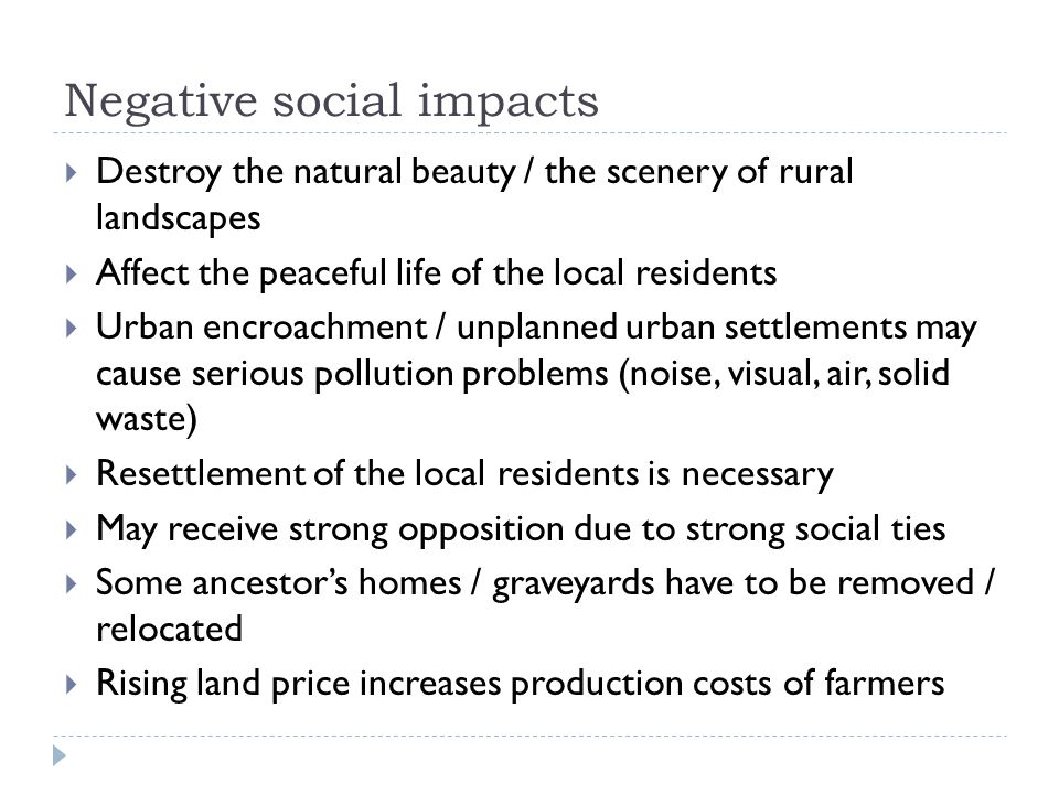 Negative social impacts